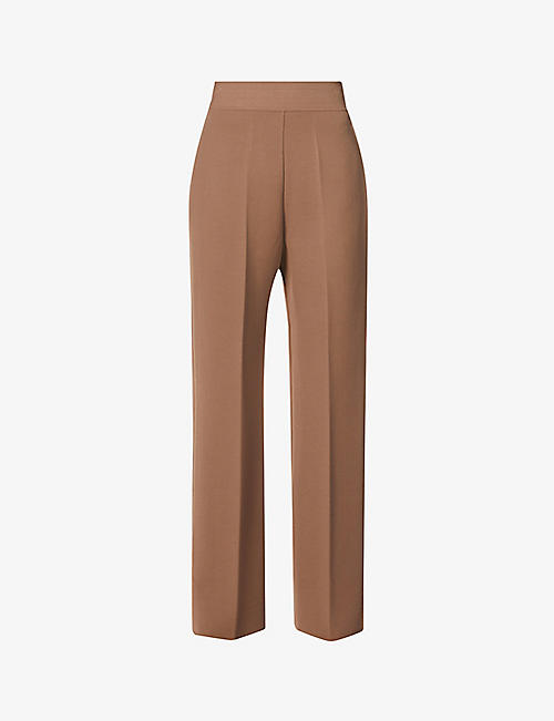 AZZEDINE ALAIA: Adage wide-leg high-rise stretch-woven trousers