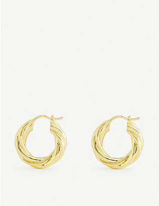 OMA THE LABEL: Amba 18ct gold-plated hoop earrings