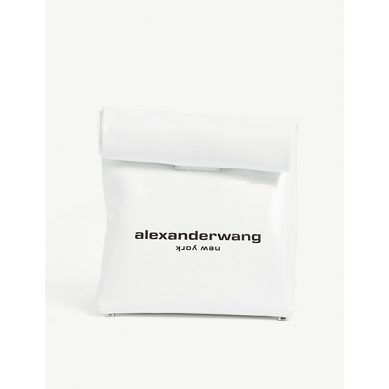 Alexander Wang Canvases LOGO-PRINT LEATHER CLUTCH BAG