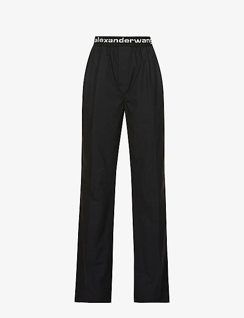 ALEXANDER WANG: Logo-print straight-leg high-rise cotton-poplin trousers