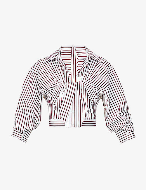 ALEXANDER WANG: Bustier striped cotton shirt