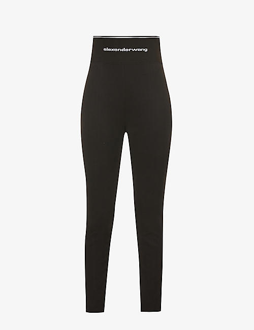 ALEXANDER WANG: Branded-waistband slim-fit high-rise stretch-woven trousers