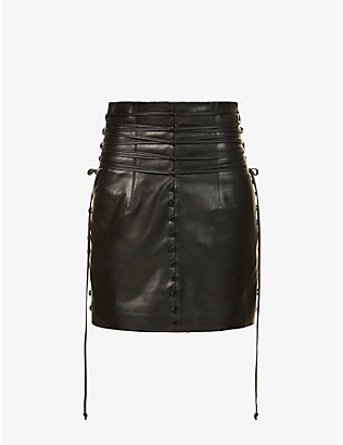 16 ARLINGTON: Kalmia lace-detail high-waist leather mini skirt