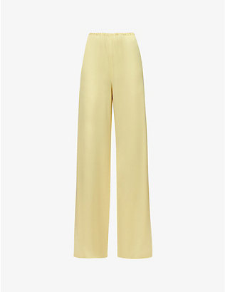 16 ARLINGTON: Relaxed wide-leg high-rise satin trousers