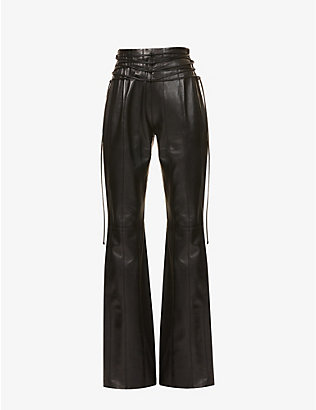 16 ARLINGTON: Lucerne flared high-rise leather trousers
