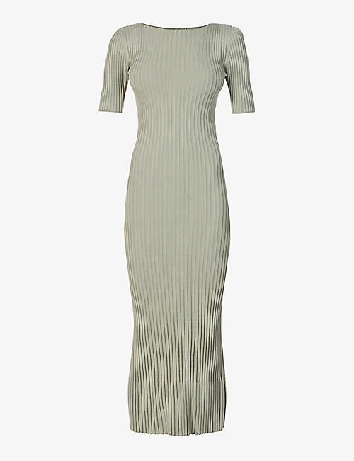 BEC & BRIDGE: White Water short-sleeved knitted midi dress