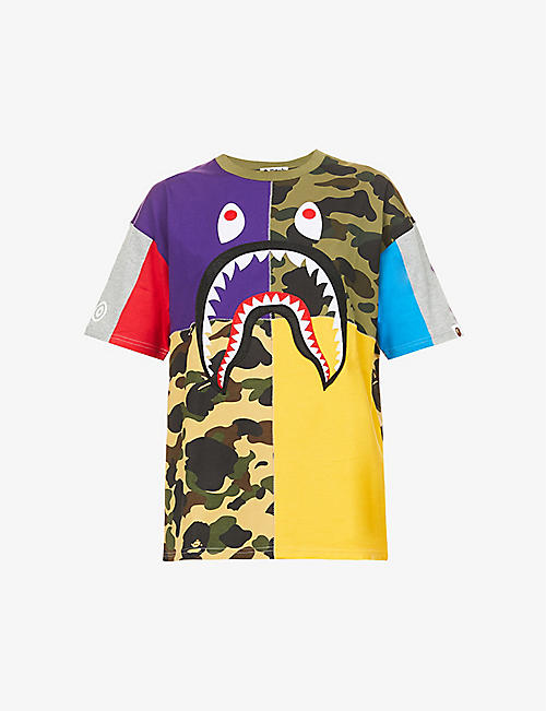 BAPE: Shark graphic-print oversized cotton-jersey T-shirt