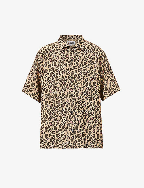 BAPE: Ape Head and leopard-print oversized woven shirt