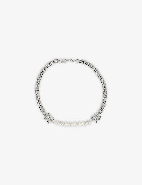 MISBHV: Branded sterling-silver and faux-pearl chain necklace