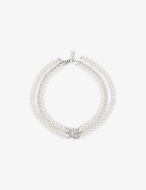 MISBHV: Branded sterling-silver, diamanté and faux-pearl choker