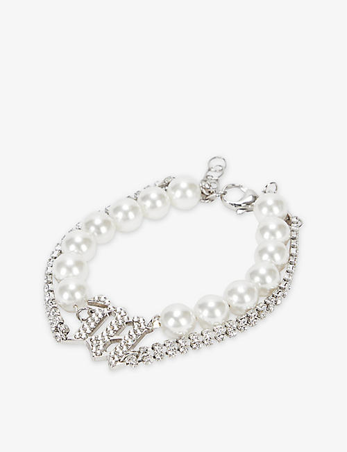 MISBHV: Branded sterling-silver, diamante and faux-pearl bracelet