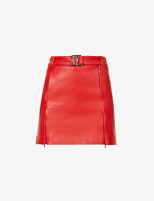 MISBHV: Belted high-waist vegan leather mini skirt