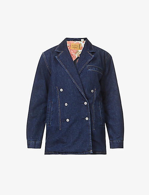 GANNI: GANNI x Levi's double-breasted cotton-blend jacket
