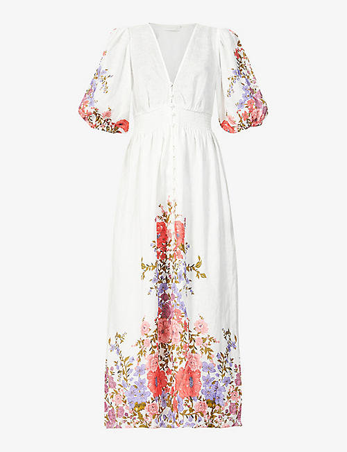 ZIMMERMANN: Floral-print linen midi dress