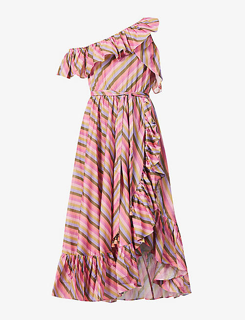 ZIMMERMANN: Poppy striped one-shoulder cotton midi dress
