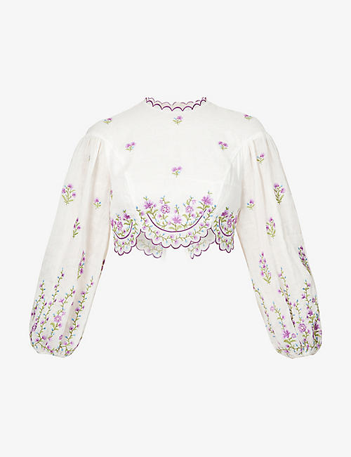 ZIMMERMANN: Floral-embroidered cropped linen-blend top