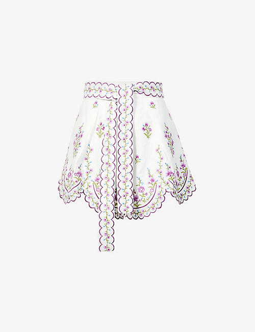 ZIMMERMANN: Poppy floral-embroidered high-rise linen shorts