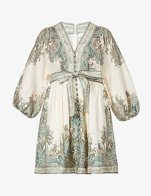 ZIMMERMANN: Brighton Paisley linen mini dress