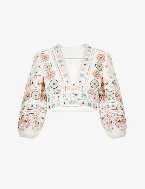 ZIMMERMANN: Brighton embroidered puff-sleeved cropped top