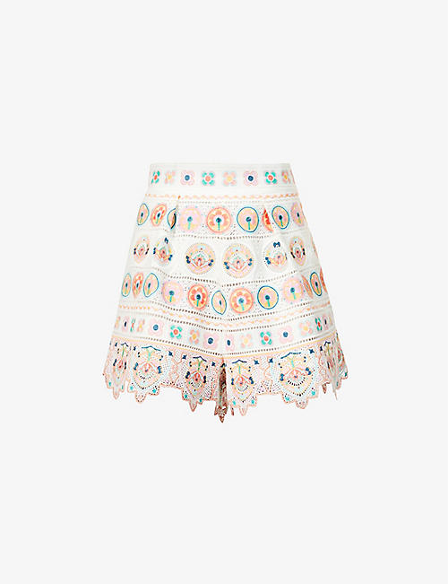 ZIMMERMANN: Brighton embroidered mid-rise cotton shorts