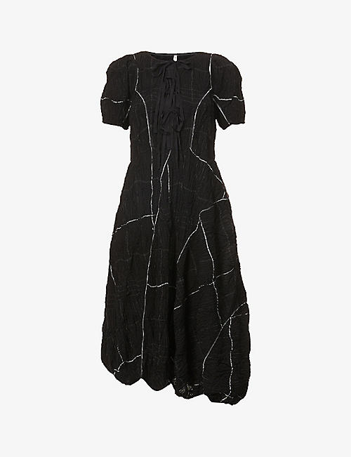 RENLI SU: Lace-up crinkled cotton-blend midi dress