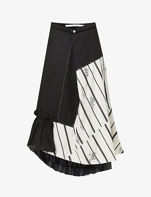 RENLI SU: Stripe-print high-waisted cotton-blend midi skirt