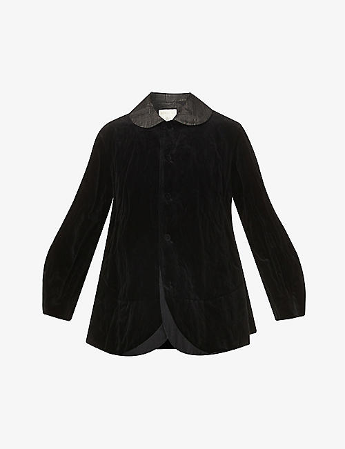RENLI SU: Single-breasted velvet blazer