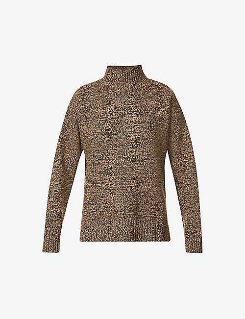 GANNI: G-embroidered turtleneck wool and cashmere-blend jumper