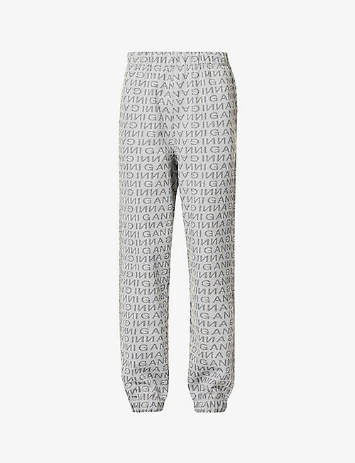 GANNI: Logo-print recycled cotton and recycled polyester-blend jogging bottoms