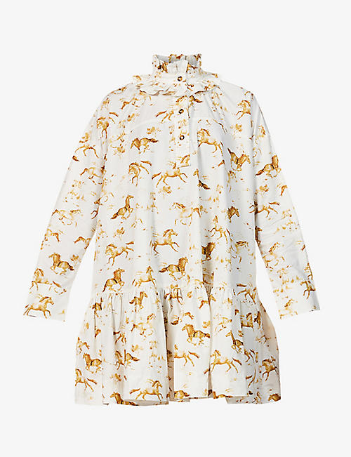 GANNI: Horse-print organic-cotton poplin mini dress