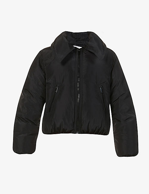 GANNI: Tech cropped shell-down jacket