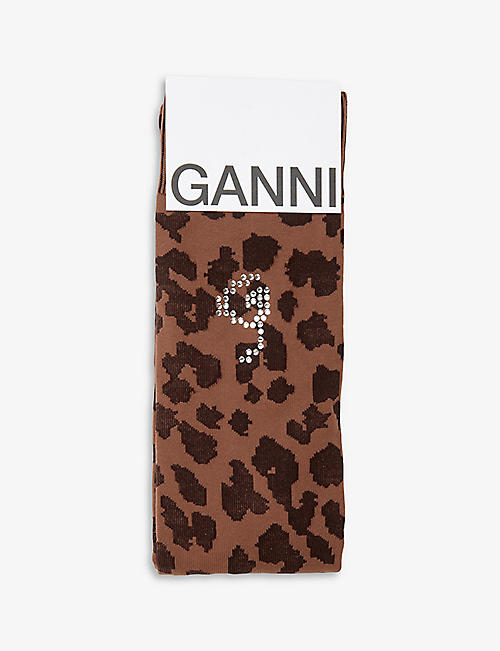 GANNI: Leopard-print knee-high knitted socks
