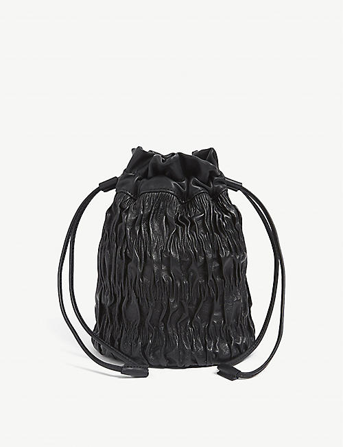 GANNI: Napa ruched drawstring leather bag