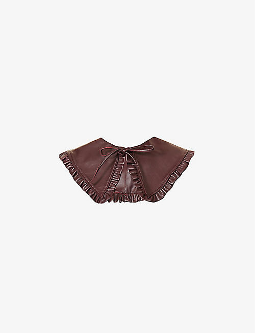 GANNI: Frilled self-tie leather collar