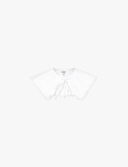 GANNI: Ruffle-trim cotton-poplin collar