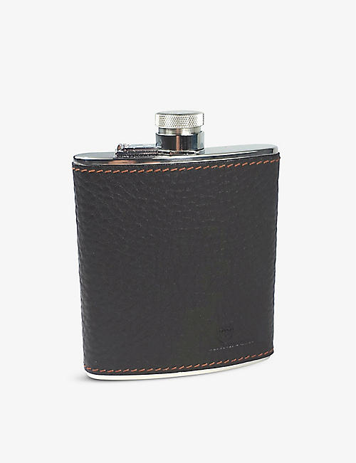BEIER: Leather and stainless steel hip flask 225ml