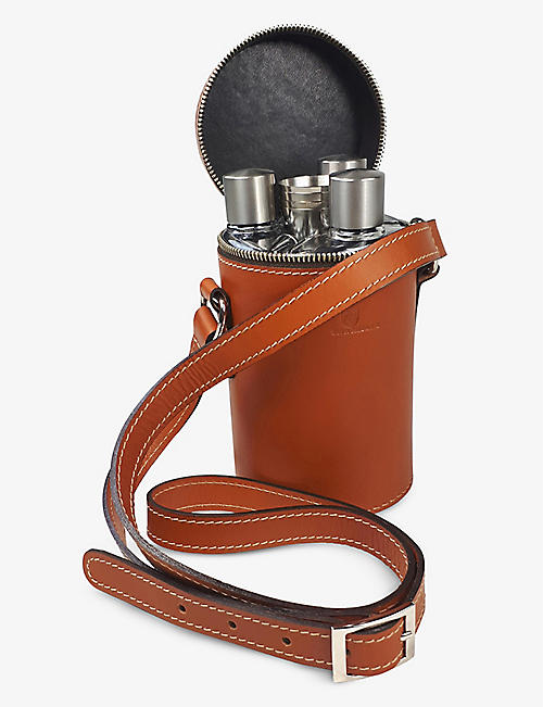 BEIER: Triple leather hipflask set