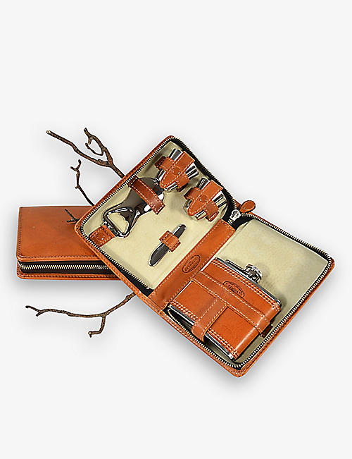 BEIER: Leather and stainless steel portable cocktail set