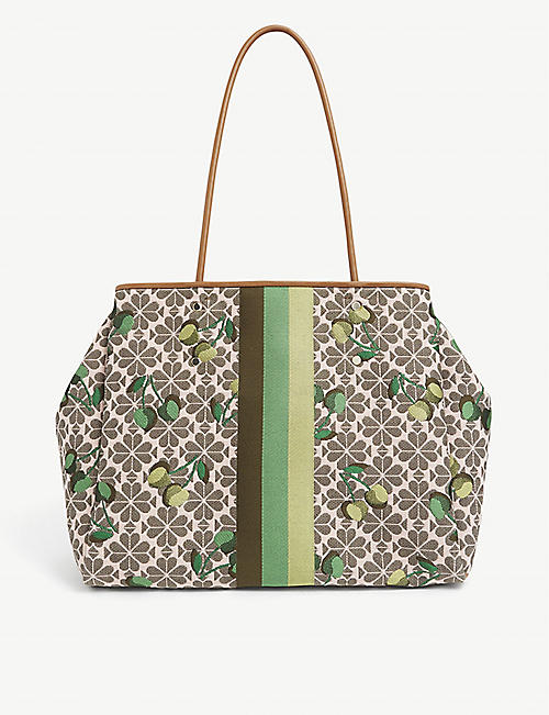 KATE SPADE NEW YORK: Spade Flower cherry-embroidered jacquard tote