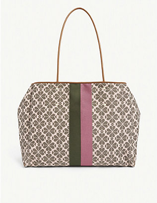 KATE SPADE NEW YORK: Spade Flower stripe and floral-jacquard tote bag