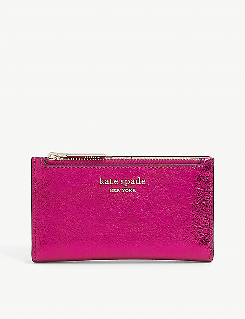 KATE SPADE NEW YORK: Sparkle logo-embossed metallic leather wallet