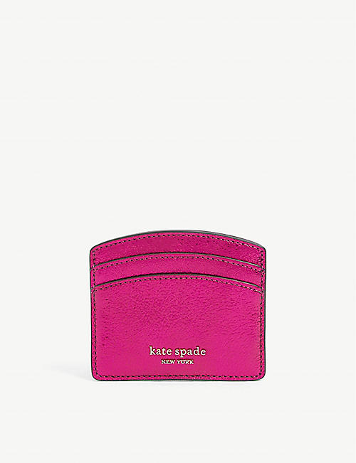KATE SPADE NEW YORK: Sparkle logo-embossed metallic leather cardholder