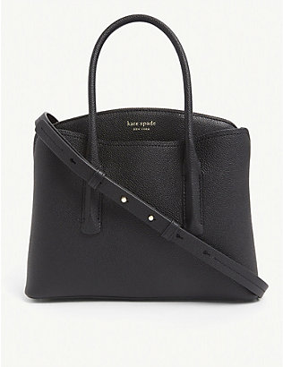 KATE SPADE NEW YORK: Margaux logo-embossed medium leather bag