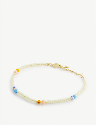 ANNI LU: Soho 18ct gold-plated, glass and gemstone bracelet
