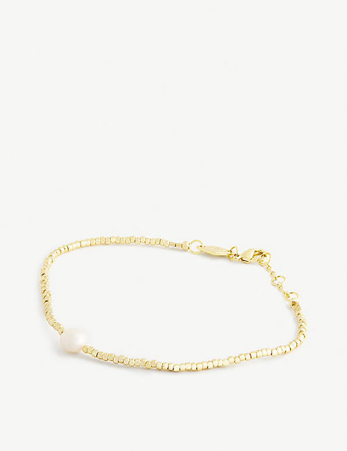 ANNI LU: Pearly 18ct gold-plated, glass and pearl bracelet