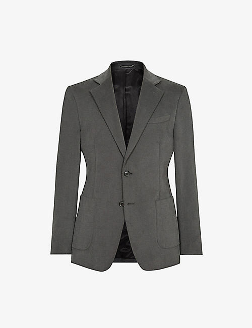 REISS: Monument single-breasted cotton blazer