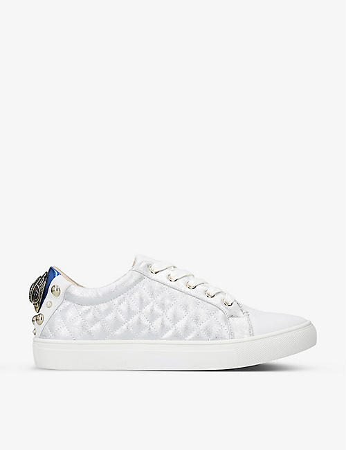 KURT GEIGER LONDON: Ludo quilted metallic faux-leather trainers