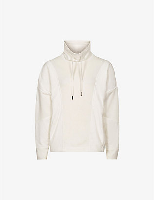 REISS: Mix mixed-fabric funnel-neck jumper