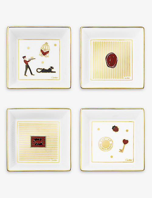 CARTIER: Diabolo de Cartier small porcelain and suede trinket trays set of four