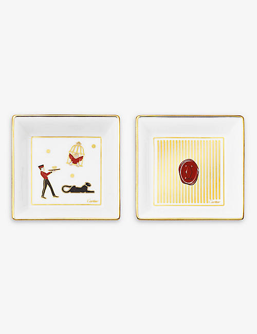 CARTIER: Diabolo de Cartier small porcelain and suede trinket trays set of two